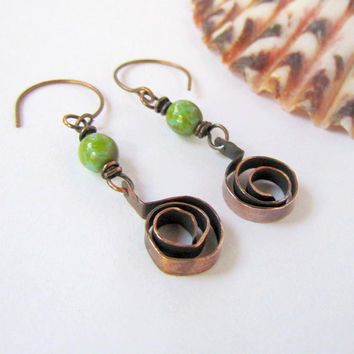 Rustic Oxidized Copper Spirals Earrings by SandstarJewelry