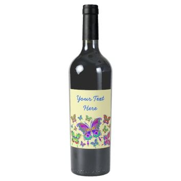 Butterfly Colorful Tattoo Style Wine Label