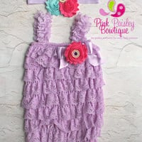 Petti Romper - 3 pc SET- Lavendar & Pink Lace Romper- Ruffle Romper -  Fairy Birthday - Baby Girl 1st Birthday Outfit - Cake Smash Outfit