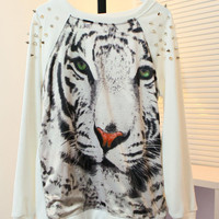 Spiked Tiger Print Sweatshirt