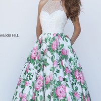 Beaded Floral Printed Gown by Sherri Hill