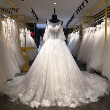 Real Photo A-line Lace Wedding Dresses 2018 Scoop Puff Sleeve Lace Up Court Train Weddings Bridal Gowns Applique robe de mariage