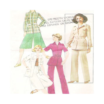1970s Uncut  Vintage Pattern Misses Culottes, Unlined Jacket and Pants Simplicity 8247 Size 10