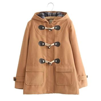 Japanese Autumn College Girls Style Horn Button Woolen Coat Women Long Slim Wool Hooded Warm Blends Jacket Student Female X015