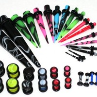 36pc Ear Stretching Kit Color Plugs and Tapers 00g 0g 2g 4g 6g 8g 10g 12g 14g Gauges Plus Instructions