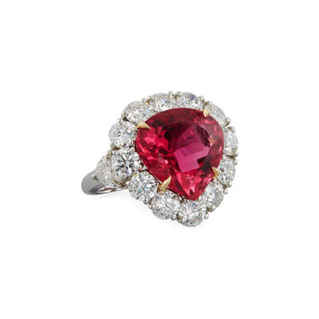 Diana M. Jewels Pink Tourmaline & Diamond Heart Ring in Platinum