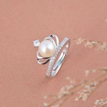 Sterling Silver Crown Pearl Ring Personalized Minimalist Influx Of People Finger Joint Ring
