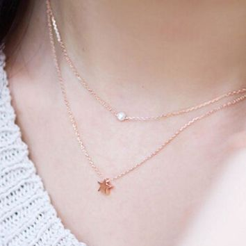 ONETOW Elegant  Women's Double Layer Pearl Star Pattern Necklace Choker Necklace