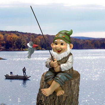 Fisherman Gnome Statue Jolly Elf Garden Pool Pond Sculpture Free Shipping