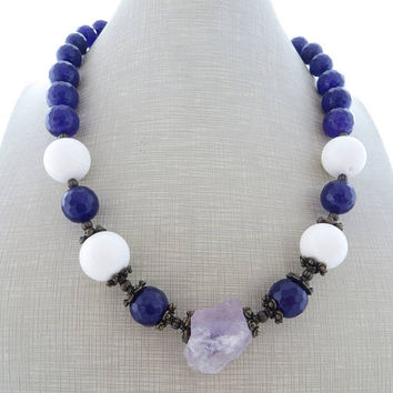 Purple jade necklace, lavender amethyst necklace, chunky necklace, rustic necklace, beaded necklace, stone jewelry, contemporary jewelry