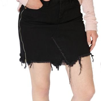 Mini Zip Skirt - Black by Dex
