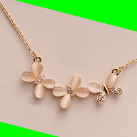 Butterfly Opal and Rhinestone Necklace