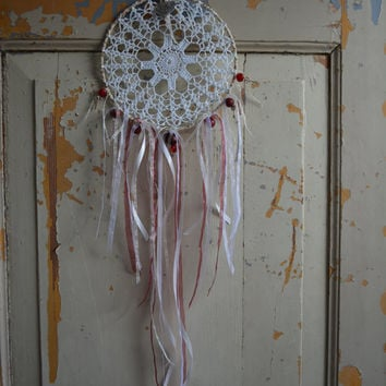 A vintage lace doily dream catcher in Cream, Burgundy and White shades --- A vintage elegant present