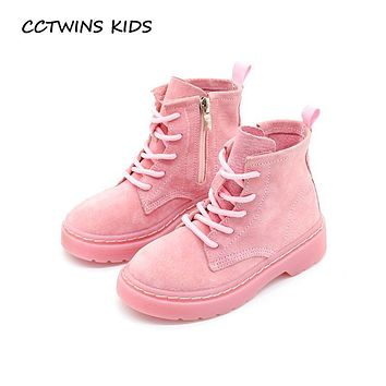 CCTWINS KIDS 2017 Children Genuine Leather Ankle Boot Kid Lace-Up Baby Girl Martin Boot Toddler Boy Fashion Black Shoe C1153