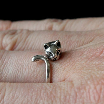 Kitty Cat Ring In Solid Sterling Silver