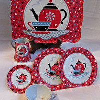 Mid Century Tin Ohio Art Lithograph Childrens Garden Party Tea Set Toy 6 Pieces