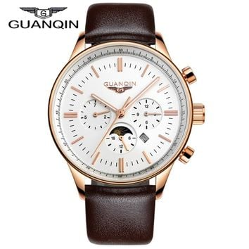 Men Watches Top Brand Luxury GUANQIN Quartz-Watch Leather Watchbands Sport Waterproof Casual Relogio Masculino Montre Homme
