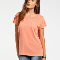 Volcom Lived In Burnout Womens Tee Papaya  In Sizes