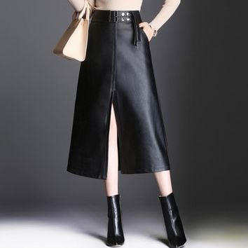 Winter PU Leather Skirt Women Saia Faldas Maxi Long Skirts Womens High Waist A-line Vintage Positive Split The Fork Skirt Black