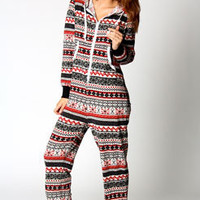 Gracie Knitted Fairisle Hooded Onesuit