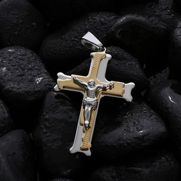 Men Stainless Steel Cross Necklace Pendant Tone Link Byzantine Chain Gold Silver Filled Christs Jesus Punk Jewelry 21.65 6mmMN50