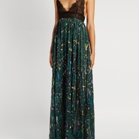 Panama-print cotton and lace gown | Valentino | MATCHESFASHION.COM US