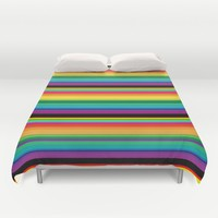 Vibrant Colorful Stripes Duvet Cover by SimplyChic