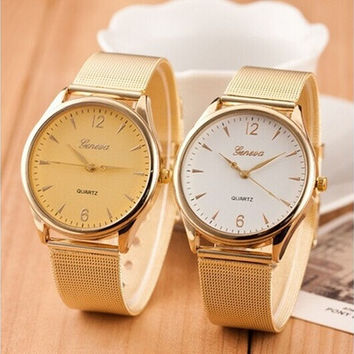 1 Pc Fashion montre femme relogio geneva Watch Women Classic Gold Quartz Watch Stainless Steel Full Steel Wrist Watch [8833431436]