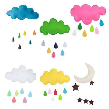 Hanging Wal Edtoy Baby Bed Room Decor Sticker Kids Play Tent Tent Decoration Props Toys Raining Clouds Water Drop Star Moon