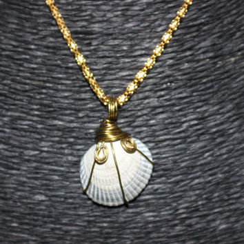 SALE: Wire Wrapped Shell Pendant Necklace