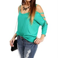 Green Slub Bar 3/4 Sleeve Top