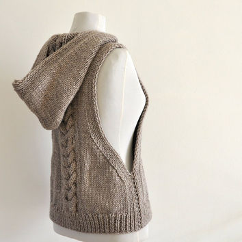 Hand Knit Hooded Vest Sweater Pale Brown Beige by reflectionsbyds