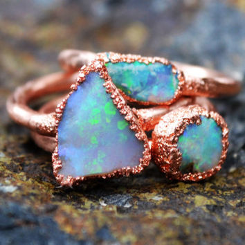 Opal Ring, Copper Electroformed Ring, Raw Crystal Ring, Copper Rings, Natural Stone Rings, Unique Engagement Ring, Wedding Ring