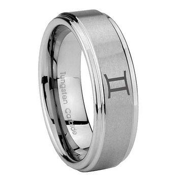 8MM Gemini Zodiac Step Edges Silver Tungsten Carbide Laser Engraved Ring