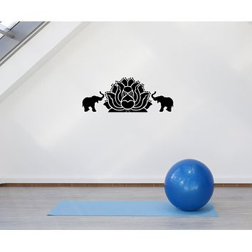 Vinyl Decal Wall Sticker Elephants Lotus Animal Yoga Budda Meditation Decor Unique Gift (g116)