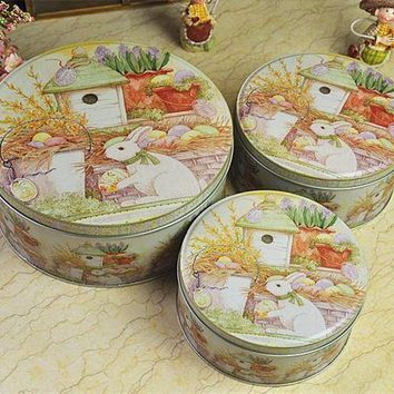 CREYXF7 Peter Rabbit Round Set Three Storage Tins Cookies Pastry Box Gift Boxes
