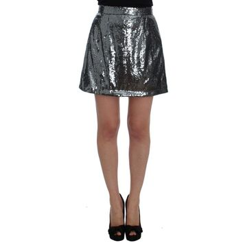 Dolce & Gabbana Gray Silver Sequined A-Line Skirt