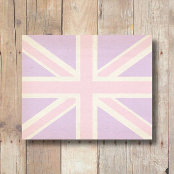 Lavender Union Jack print, British flag printable art, printable dorm wall art, lavender nursery printable wall art printable download