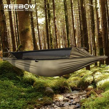 REEBOW Tactical Outdoor Survival Hammock Men Gauze Military Portable Safe Anti-beast Anti-insect Durable Stable Hammock
