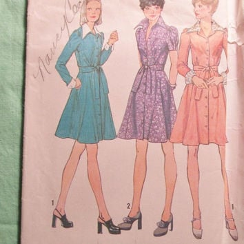 Sale Uncut 1970's Simplicity Sewing Pattern, 6554! Size 16/Bust 38/Women's/Misses/Collared Dress/Button Up Front/Long Sleeve/Short Sleeves/C