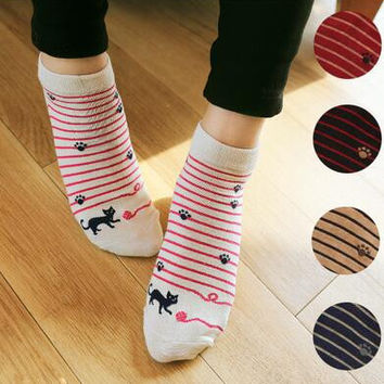 Womens Cat Print Socks Autumn Winter Gift-05