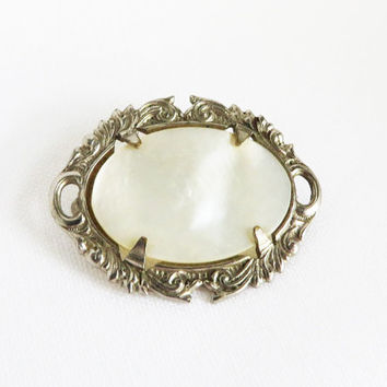 Vintage MOP Silver Tone Brooch, Ornate Hat Pin, Jacket Pin, Mother of Pearl Jewelry