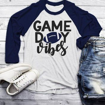 Men's Game Day Vibes T Shirt Football Tshirt Raglan 3/4 Sleeve Football Shirts Graphic Tee Football Mom