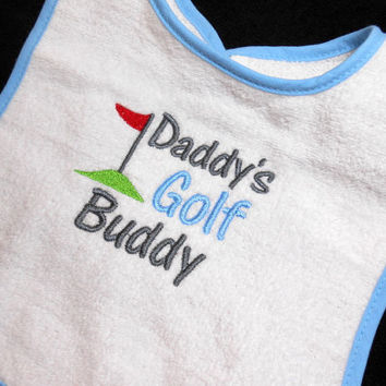 White with Blue Bib, Golf Baby Boy, 6 Mo to Toddler, Daddy's Future, Golf Buddy,  Baby Shower Gift, Baby Gift for Golfer, Golfing Gift, Baby