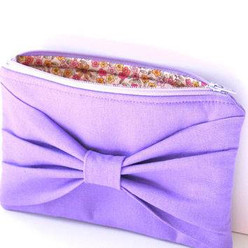 purple linen bow pouch / bridesmaid / by SassyStitchesbyLori