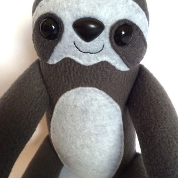 Three Toed Sloth Plush Toy - Gray - Large Stuffed Animal - Handmade - Gift for Him - Gift for Her