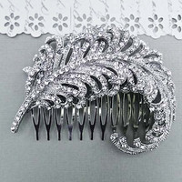 Bridal Hair Leaf, Rhinestone Bridal Hair Piece, Wedding Crystal Hair Comb, Vintage Style Bridal Comb Large Silver Leaf Bridal Comb