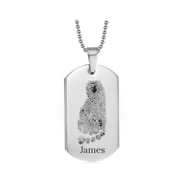 Stainless Steel Footprint Dog Tag Silver Style 1