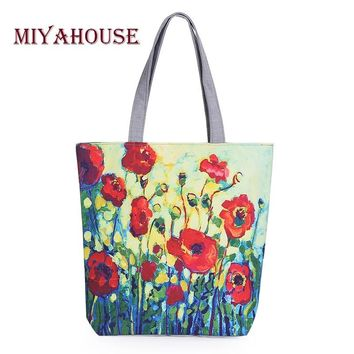 Miyahouse Floral Printed Canvas Tote Female Single Shopping Bags