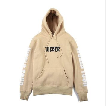 CREY9N Purpose Tour Alphabet cotton fleece men and women beige hooded sweater